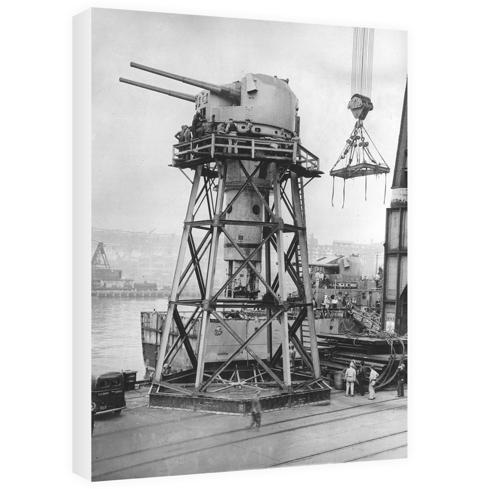 Twin 5.25inch QF Gun Removed from the Cruiser HMS Argonaut Canvas