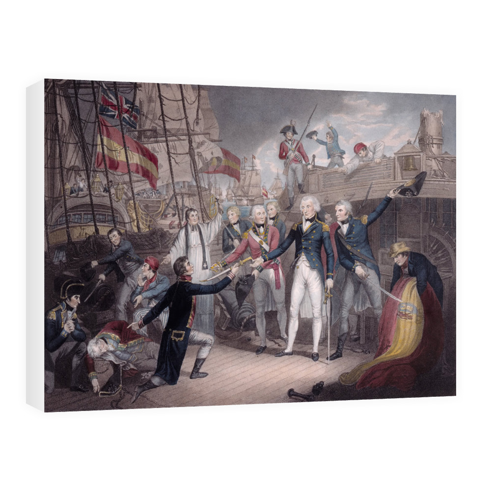 Admiral Nelson Receiving the Spanish Admiral's Sword, Battle of St. Vincent Canvas