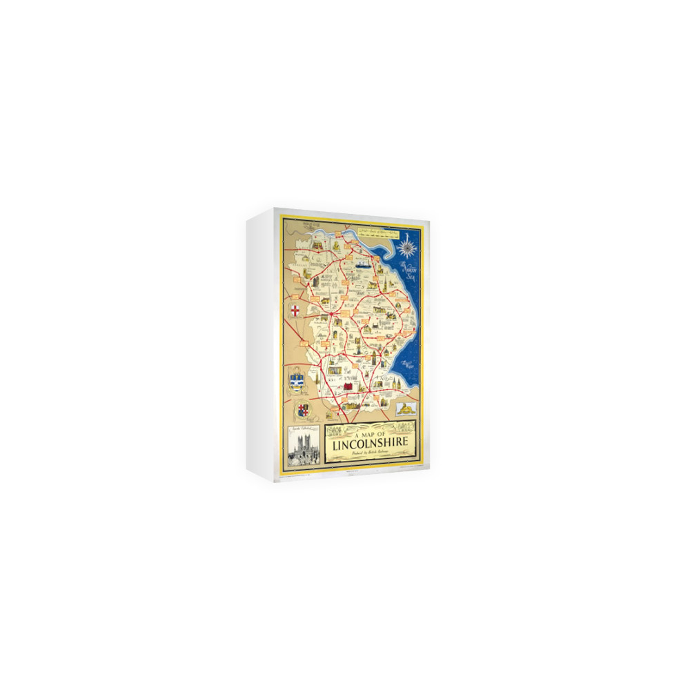 A Map of Lincolnshire - Lincoln Cathedral Art Canvas Canvas