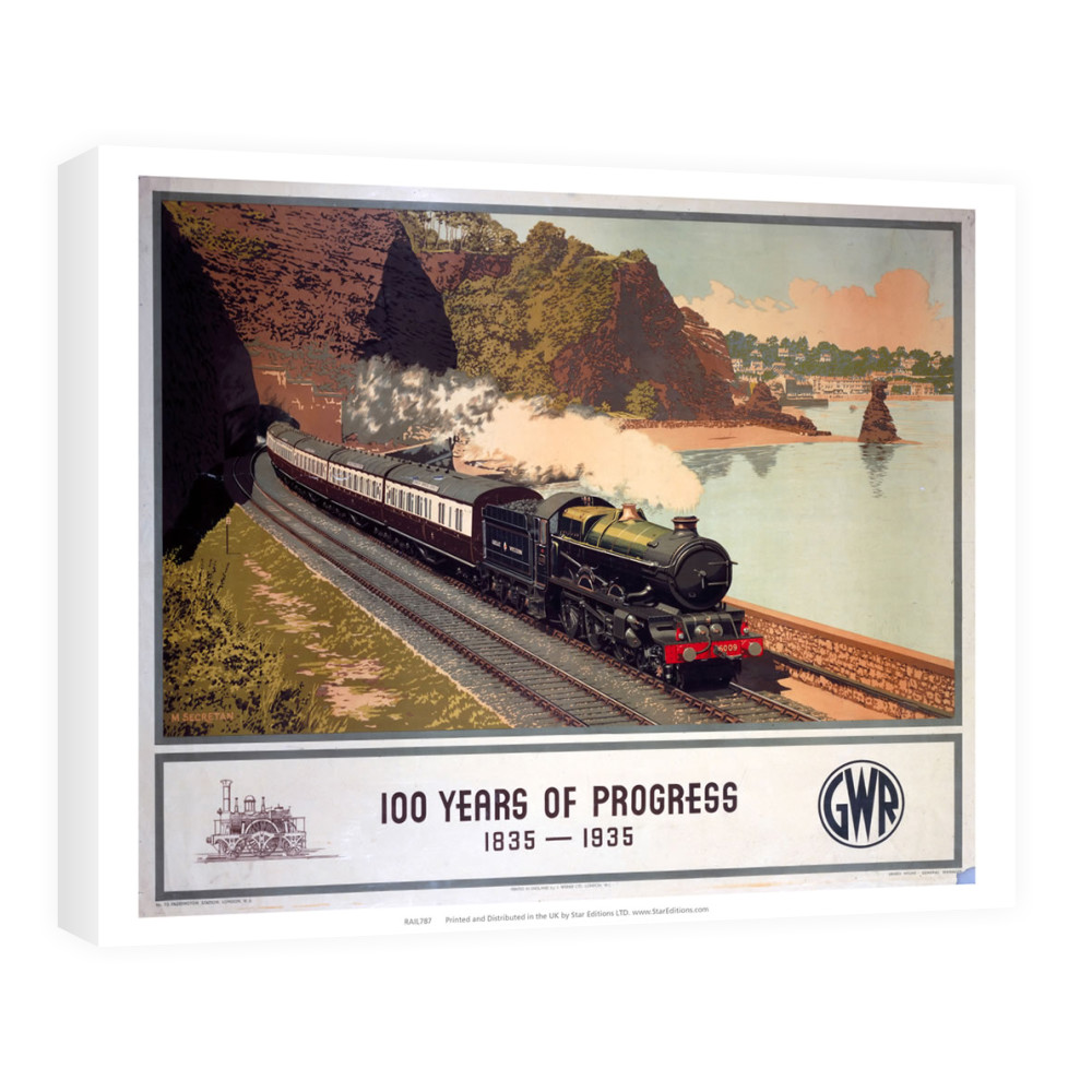 100 Years of progress - Steam train along the coast GWR Art Canvas Canvas