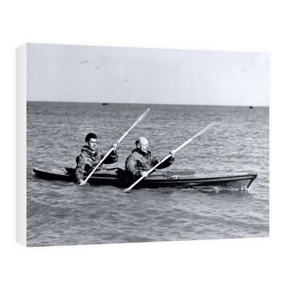 A MK2 canoe with Major Hasler & Captain Stewart showing paddling styles in.. Canvas
