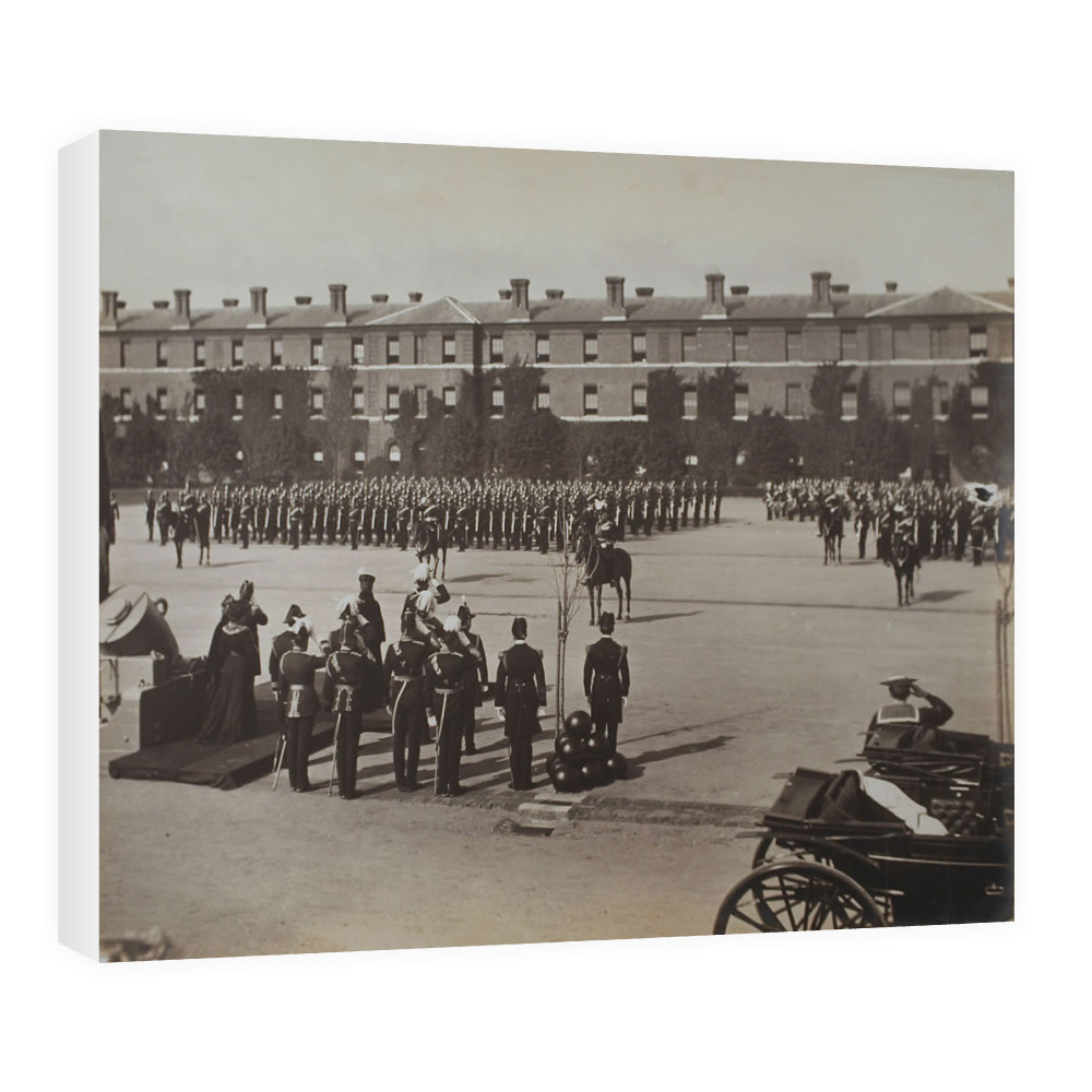 The Royal Marine Artillery on parade at their barracks at Eastney, 1904... Canvas