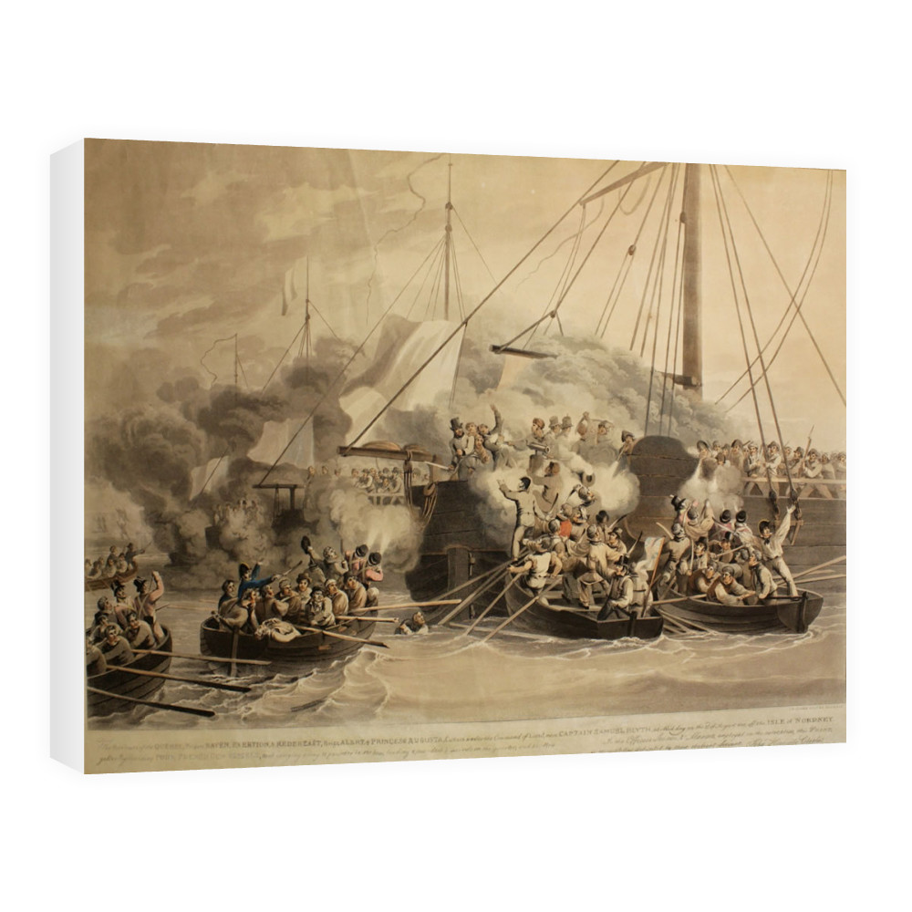 aquatint, ''The Row Boats of the Quebec (frigate) Raven, Exertion and.. Canvas