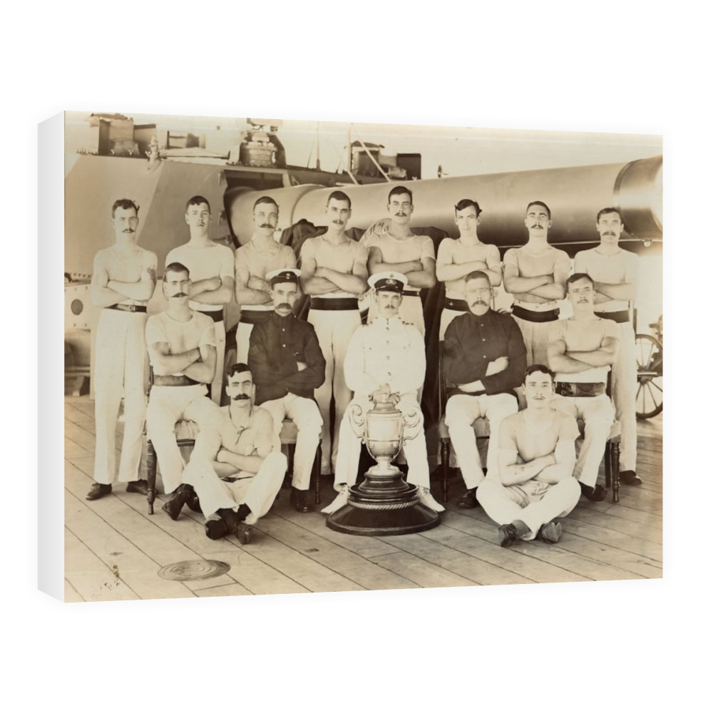 Royal Marines of the Royal Marine Detachment of the battleship HMS Prince.. Canvas