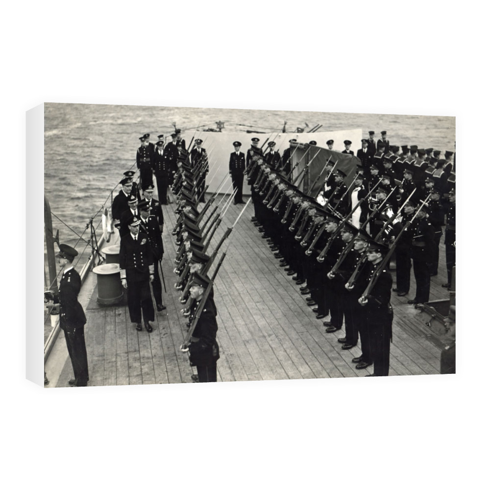 H M King George inspecting Royal Marines of the ship's RM Detachment.. Canvas