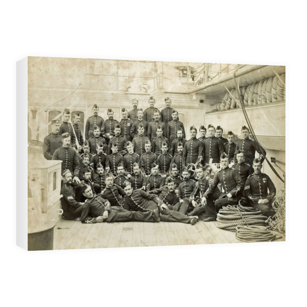Royal Marine Detachment aboard an unidentified warship, c1880. Canvas