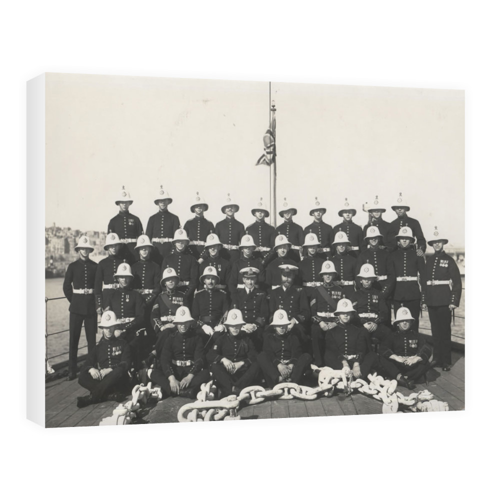 Royal Marine Detachment of the cruiser HMS Ceres with the shipÕs senior.. Canvas