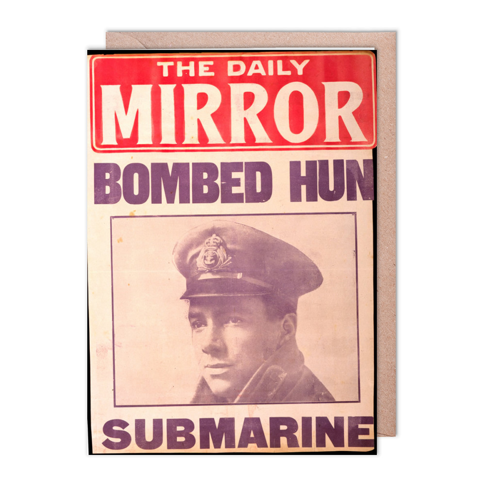 Bombed Hun Submarine Greeting Card (x2)