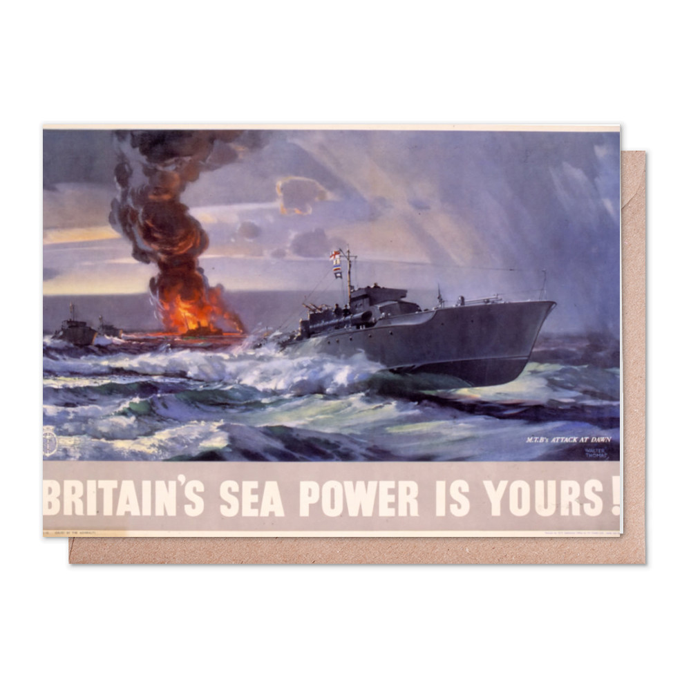 Britain's Sea Power is Yours! MTB's Attack at Dawn Greeting Card (x2)