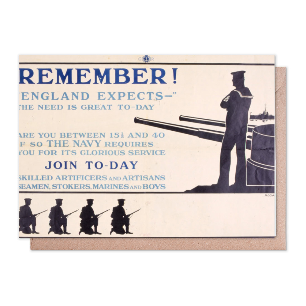 Remember! 'England Expects' The Need is Great To-Day Greeting Card (x2)
