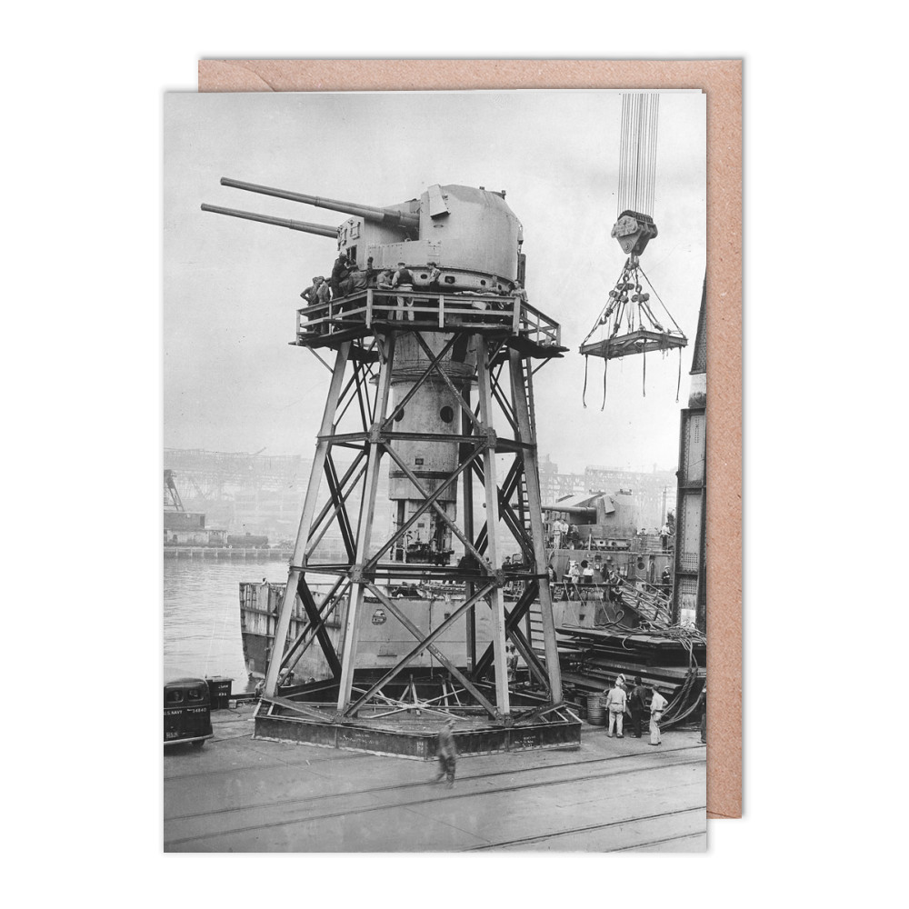 Twin 5.25inch QF Gun Removed from the Cruiser HMS Argonaut Greeting Card (x2)