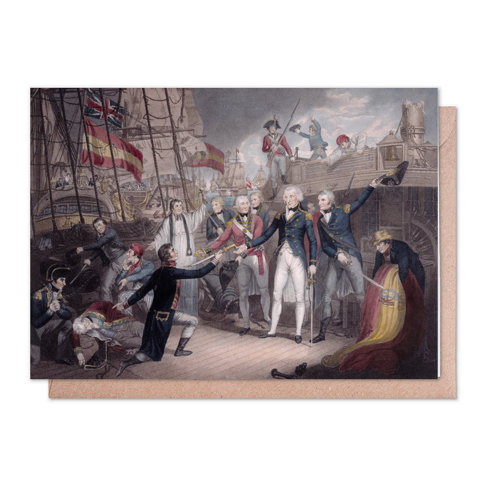 Admiral Nelson Receiving the Spanish Admiral's Sword, Battle of St. Vincent Greeting Card (x2)