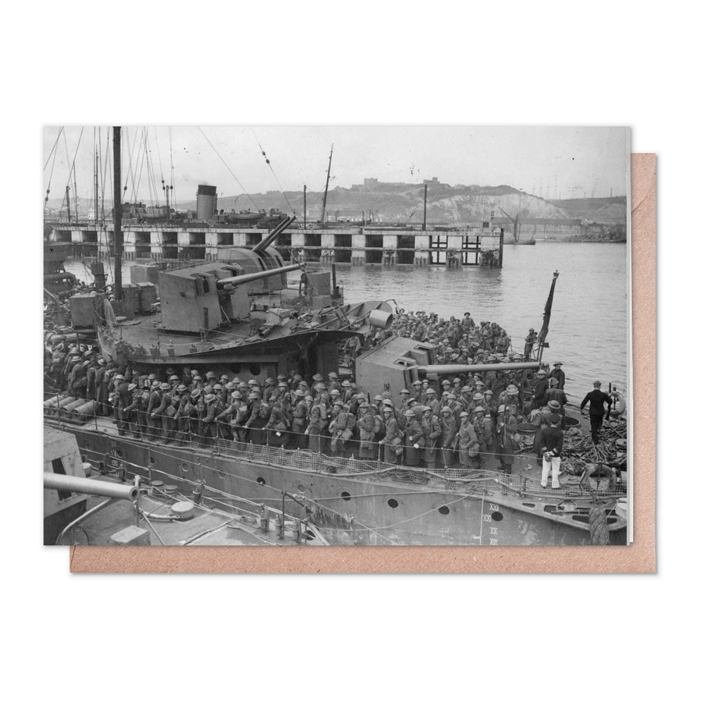 Army Personnel Disembarking from Destroyers at Dover Greeting Card (x2)