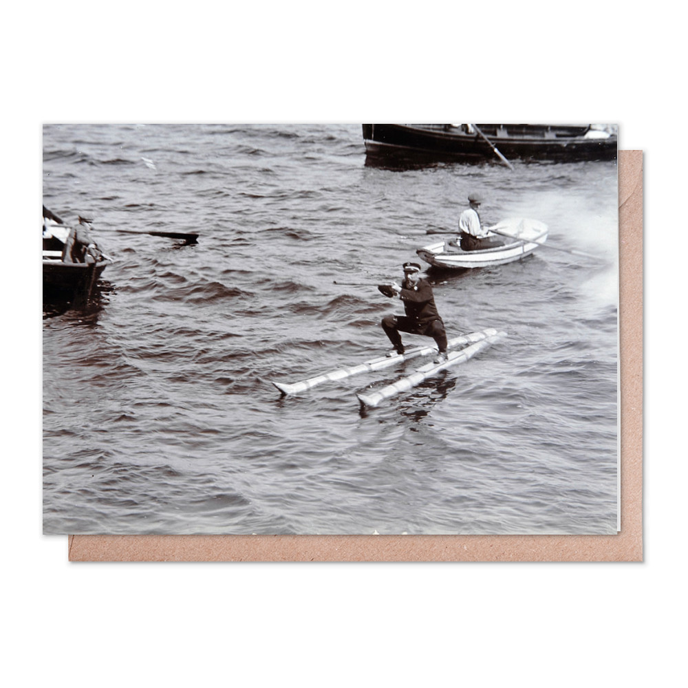 Norwegian Naval Officer Waterskiing, 1908 Greeting Card (x2)