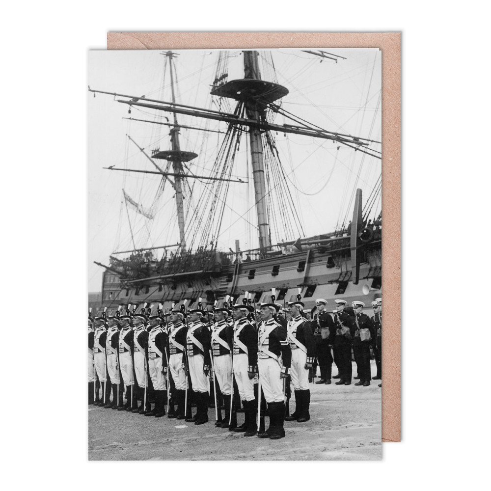 Ceremony Beside HMS Victory, 1930s Greeting Card (x2)