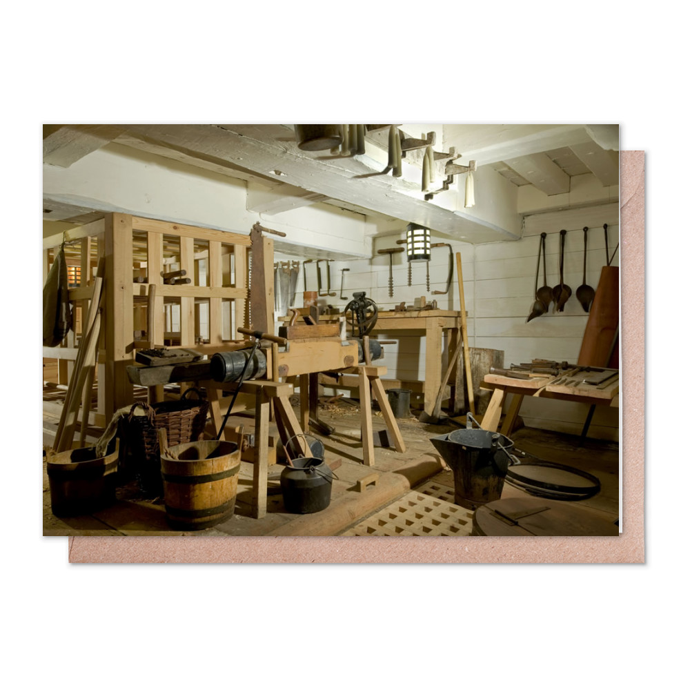 Carpenter's Workshop on HMS Victory Greeting Card (x2)
