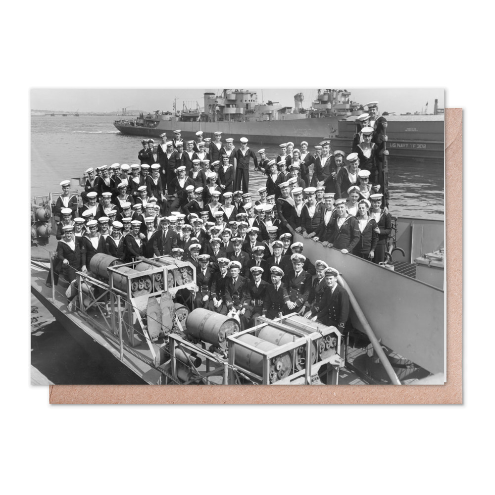 Officers and Ratings on Board HMS Zanzibar Greeting Card (x2)