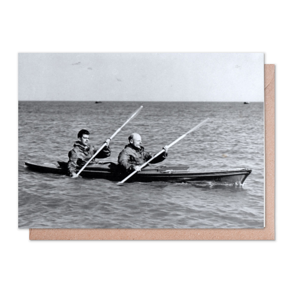 A MK2 canoe with Major Hasler & Captain Stewart showing paddling styles in.. Greeting Card (x2)