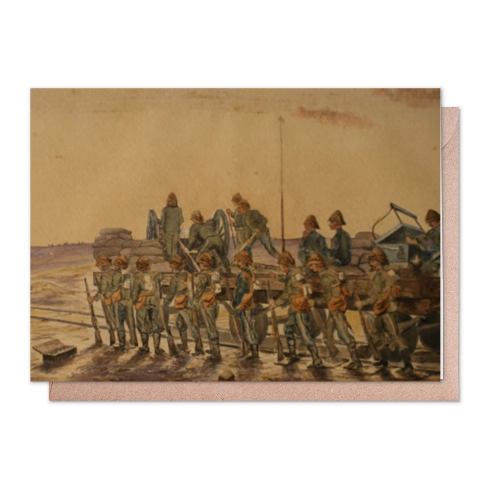 watercolour, Royal Marine Artillery working a captured gun mounted on a.. Greeting Card (x2)