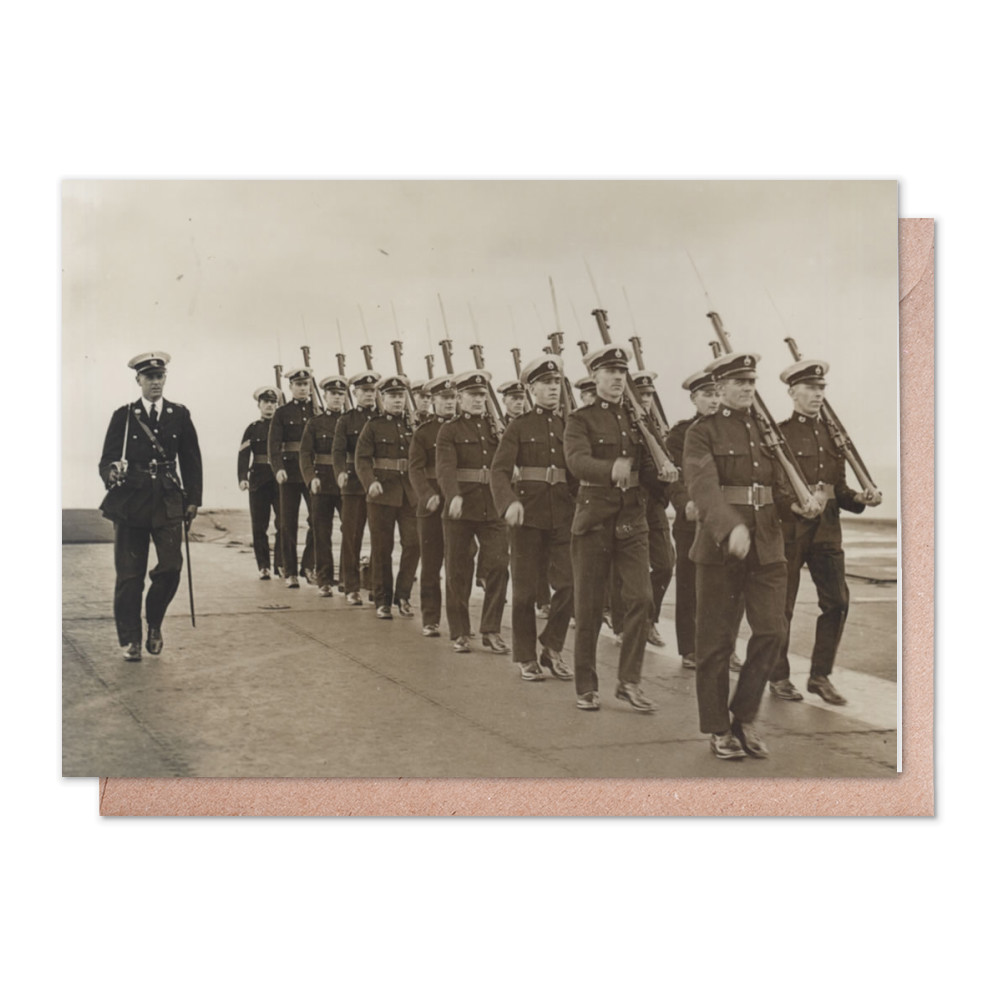 Royal Marine Guard on the flight deck of the aircraft carrier HMS Furious,.. Greeting Card (x2)