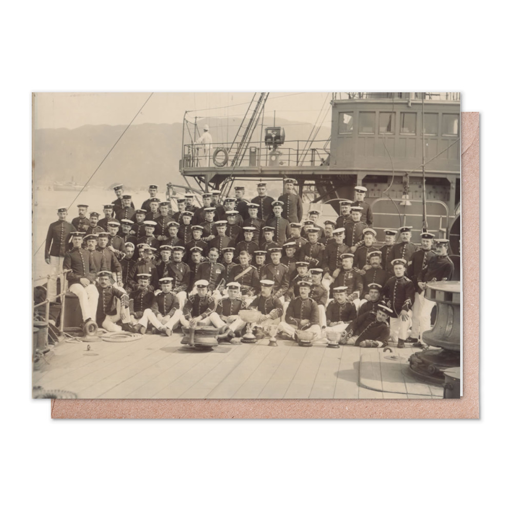 Royal Marine Detachment aboard the cruiser HMS Diadem, probably on the.. Greeting Card (x2)