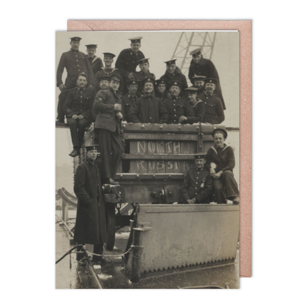 Royal Marines sitting in and on a railway wagon in North Russia, 1919. Greeting Card (x2)