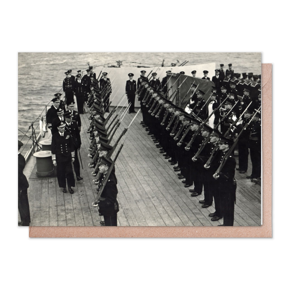 H M King George inspecting Royal Marines of the ship's RM Detachment.. Greeting Card (x2)