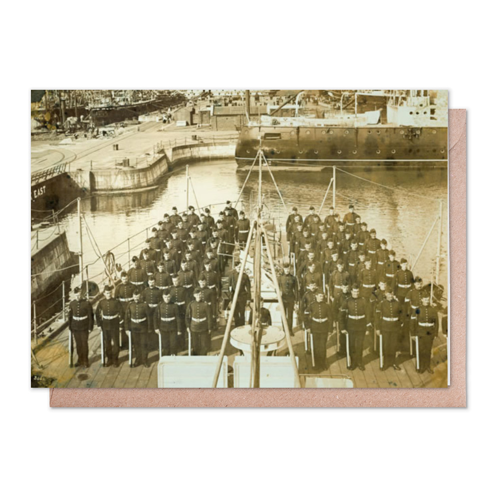 Royal Marines Detachment of the cruiser HMS Andromeda ashore at HM.. Greeting Card (x2)