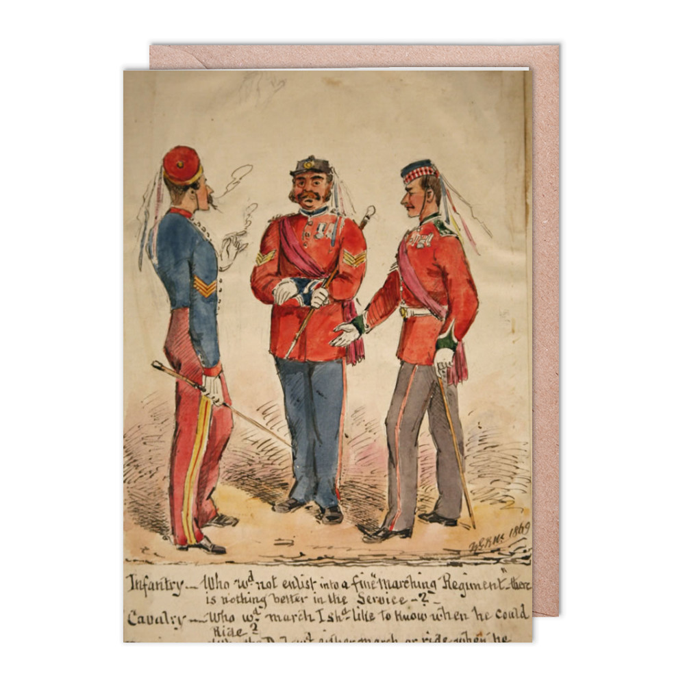 Infantry, Cavalry and Marines Discussion 1869 Greeting Card (x2)