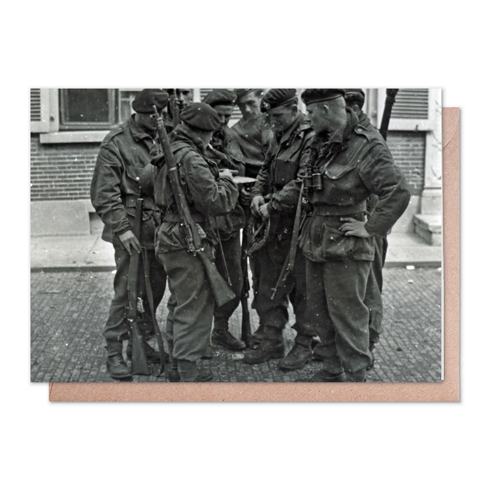 A Royal Marines NCO briefing his men before crossing the River Maas,.. Greeting Card (x2)