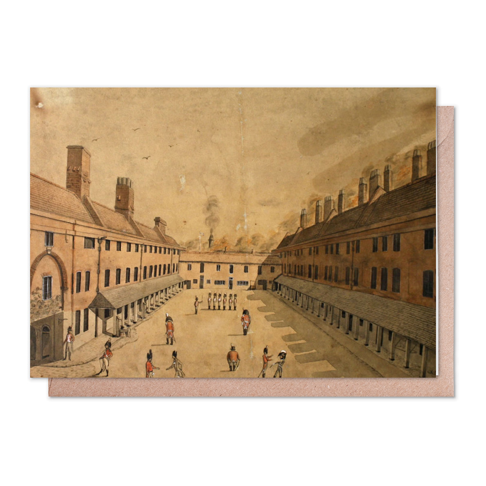 watercolour, Royal Marine Barracks, Portsmouth, Hampshire, undated. Greeting Card (x2)