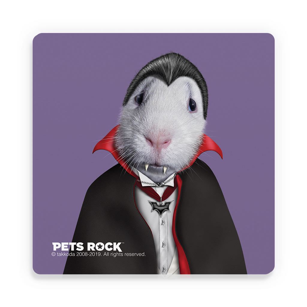 Dracula Pets Rock Ceramic Coaster