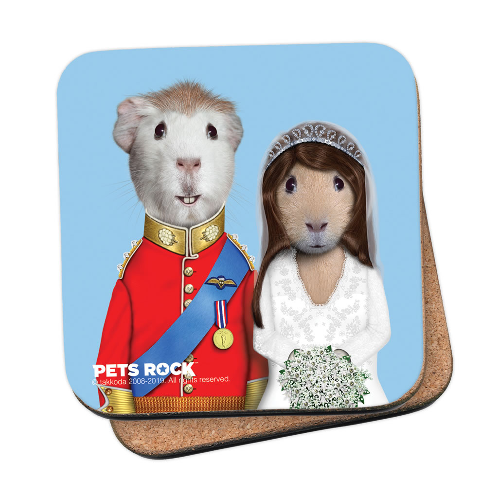 Mr & Mrs Pets Rock Cork Coaster