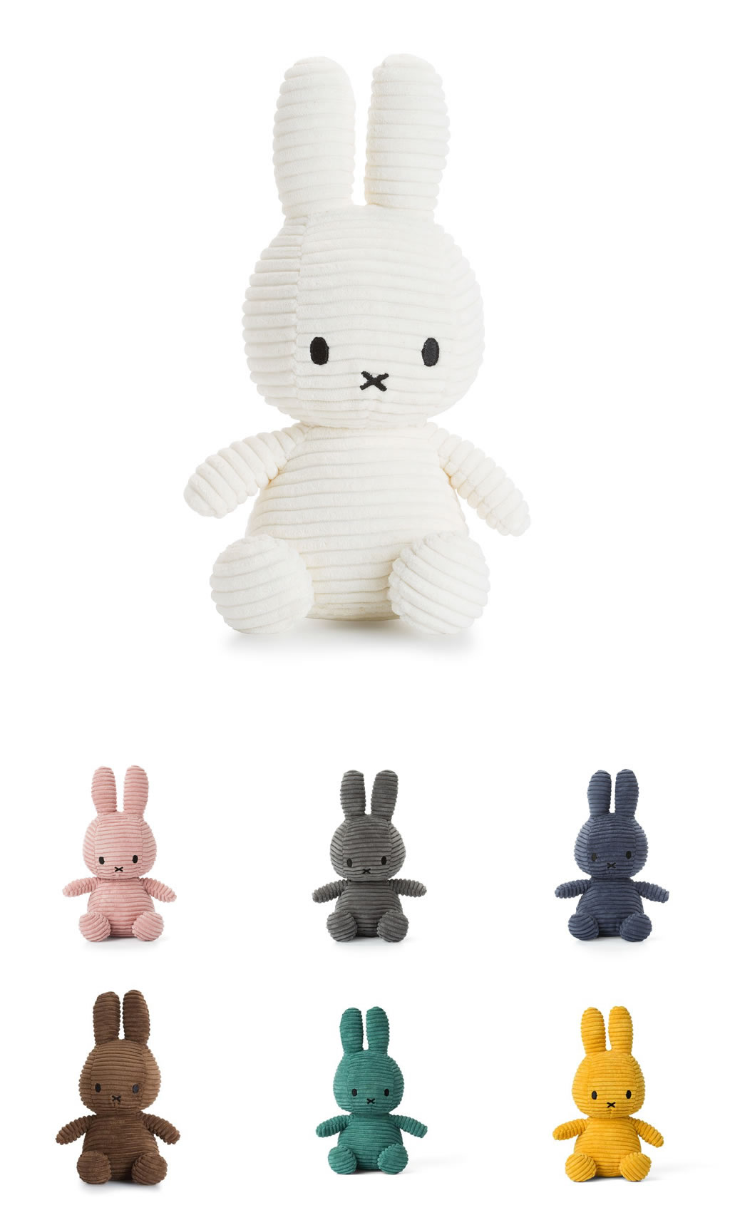 Miffy Sitting Corduroy Plush (4 colours available)
