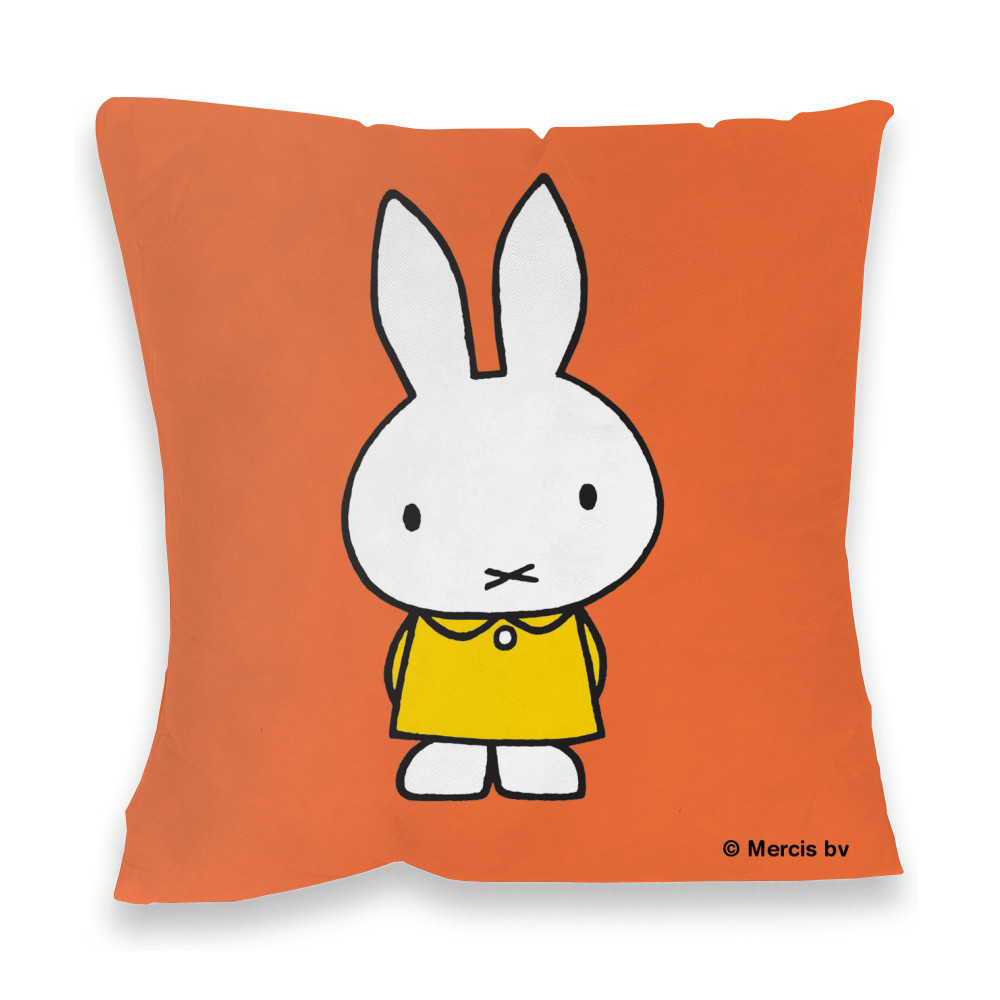 Miffy in a Yellow Dress Faux Suede Feather Filled Cushion