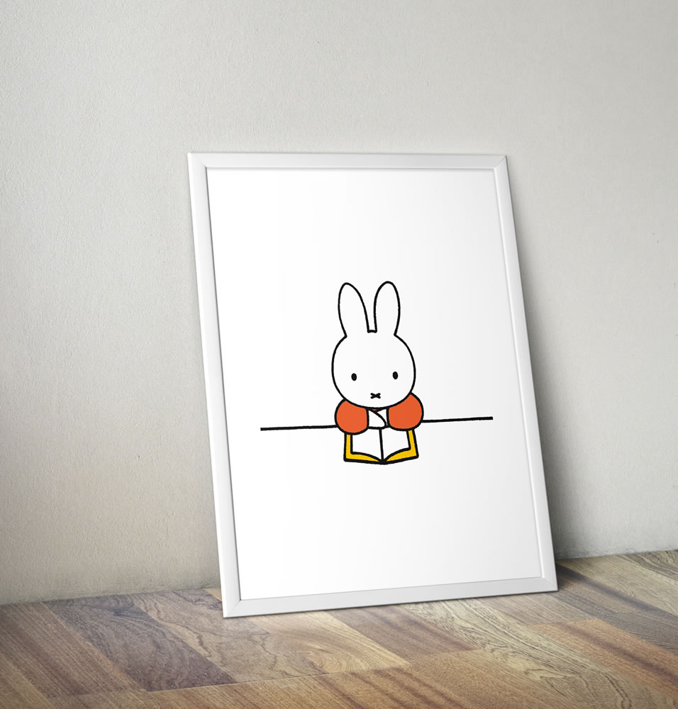 Miffy Reading a Book Framed Mini Poster
