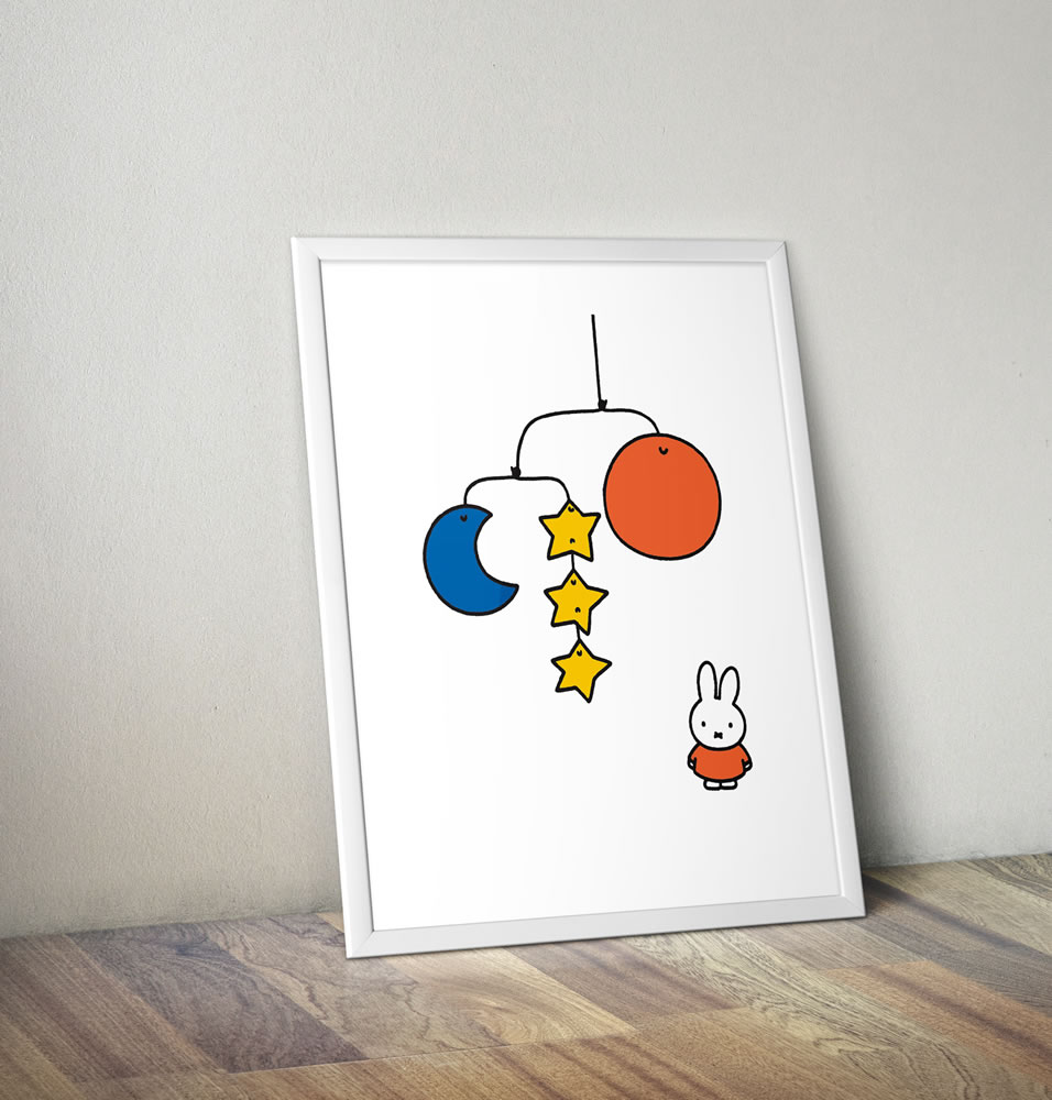 Miffy with a Planet Mobile Framed Mini Poster