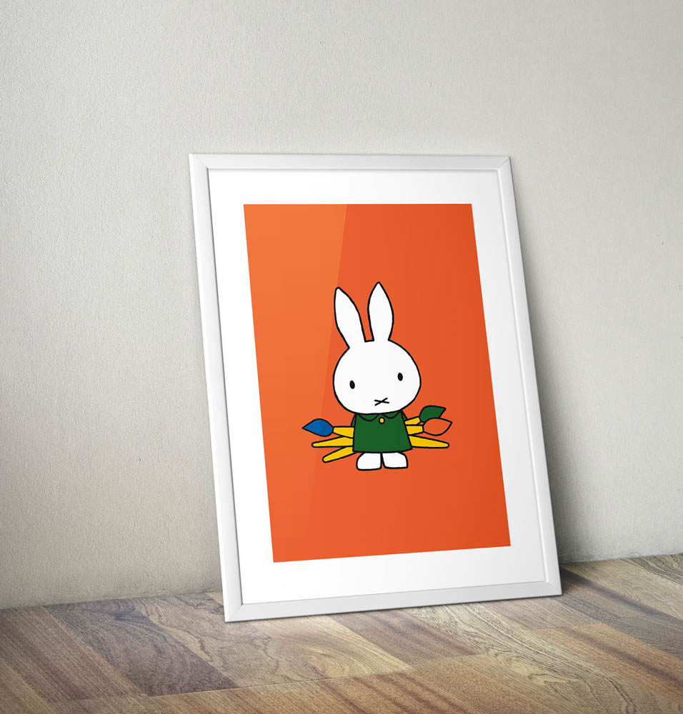 Miffy Holding Paintbrushes Framed Mini Poster
