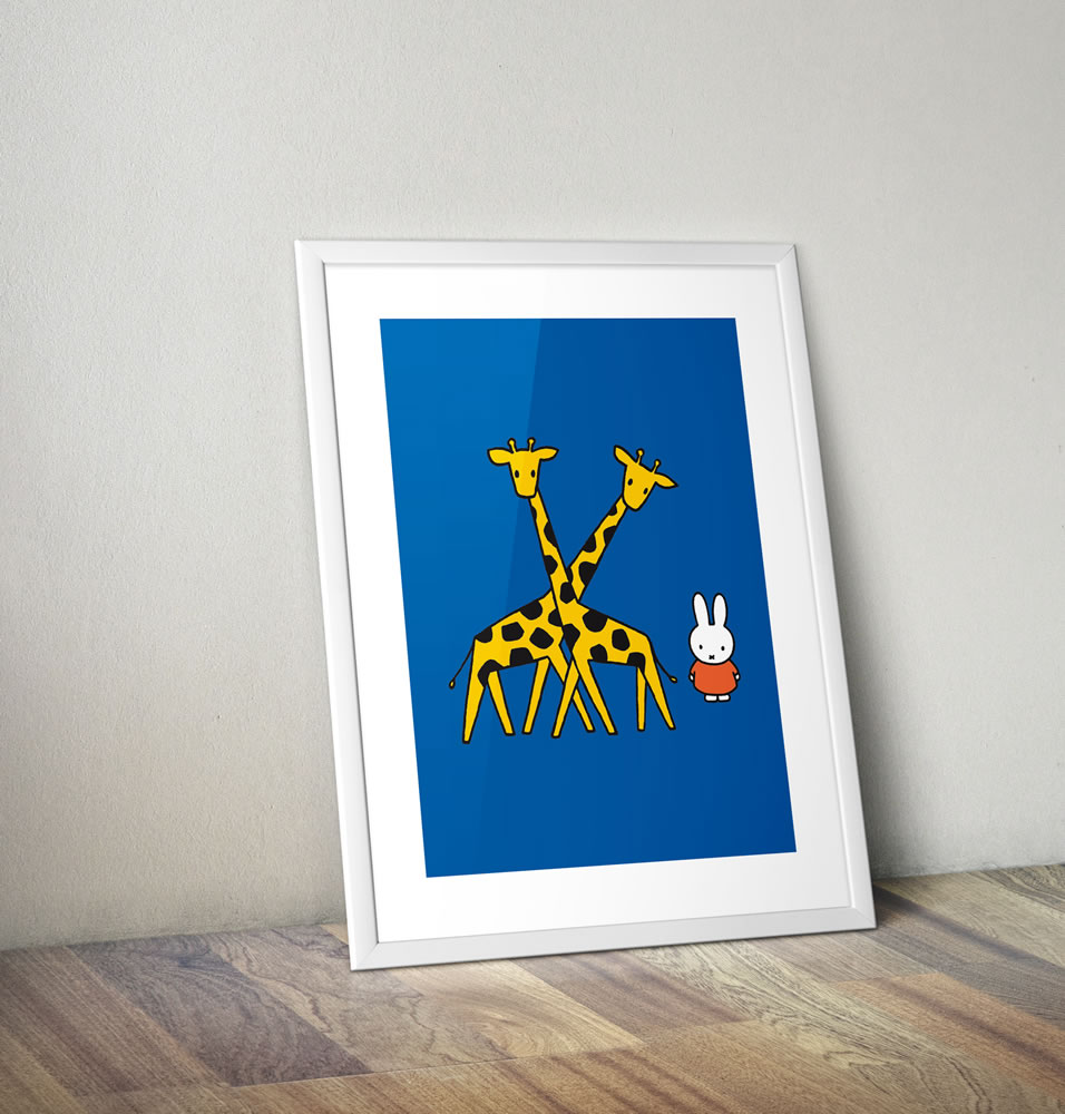 Miffy with Two Giraffes Framed Mini Poster