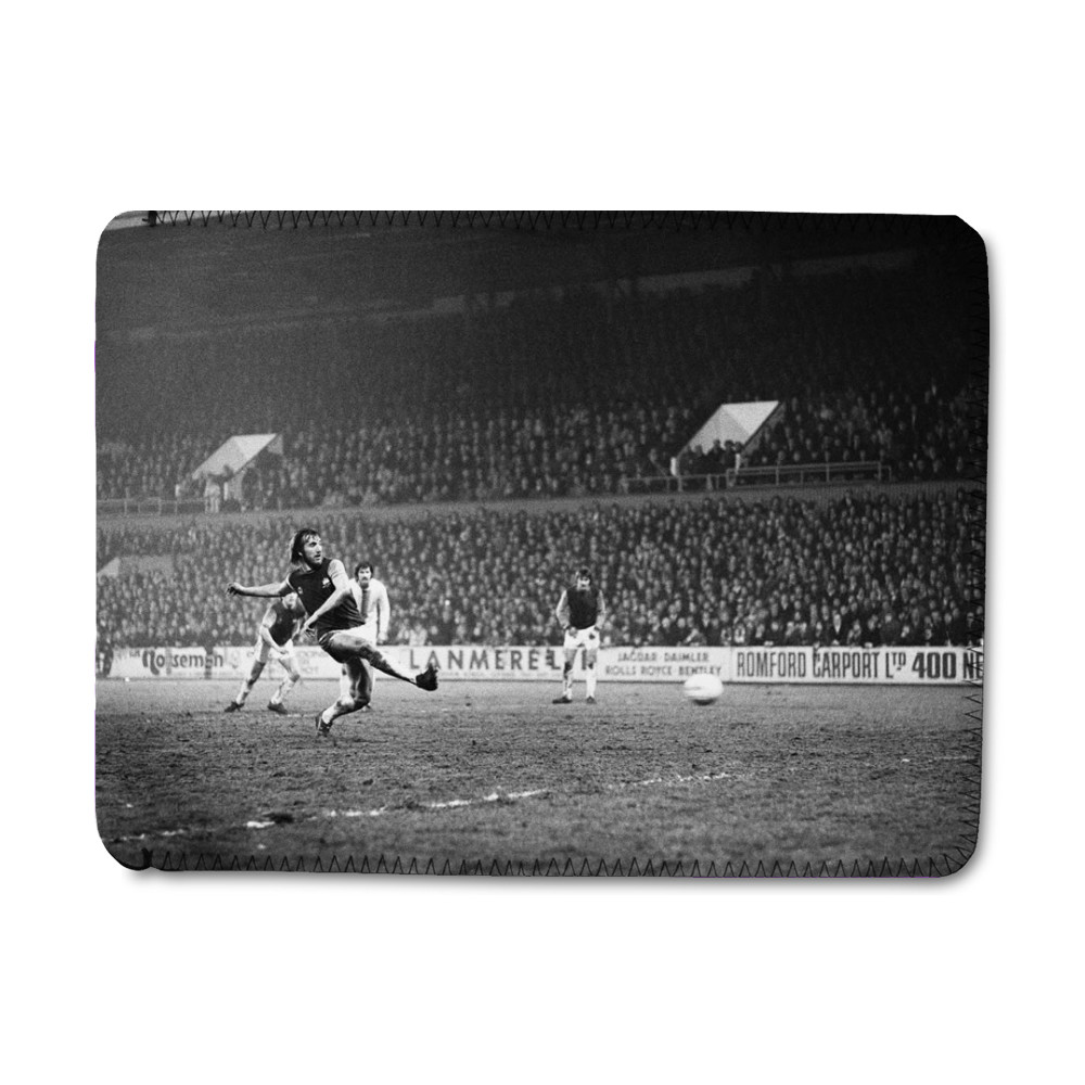 European Cup Winners Cup, West Ham 3 v Den Haag 1. Billy Bonds shoots for.. iPad Sleeve