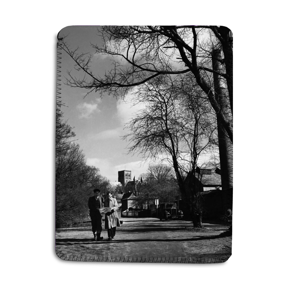 Two men walking through the park in St... iPad Sleeve
