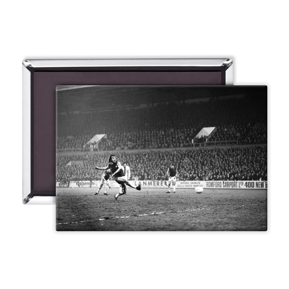 European Cup Winners Cup, West Ham 3 v Den Haag 1. Billy Bonds shoots for.. Magnet