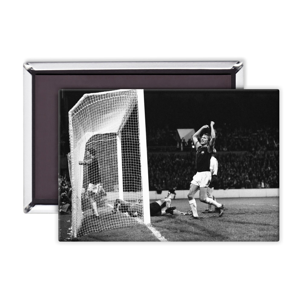 European Cup Winners Cup. West Ham v Reipas Lahden. Pat Holland in the net.. Magnet