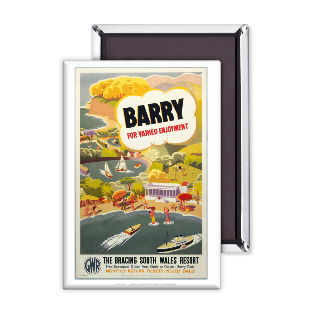 'Barry for Varied Enjoyment', GWR poster, c.1930s.    Magnet