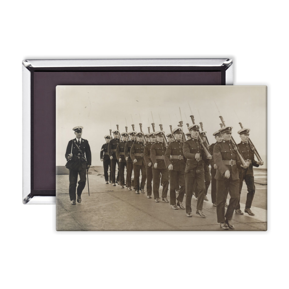 Royal Marine Guard on the flight deck of the aircraft carrier HMS Furious,.. Magnet