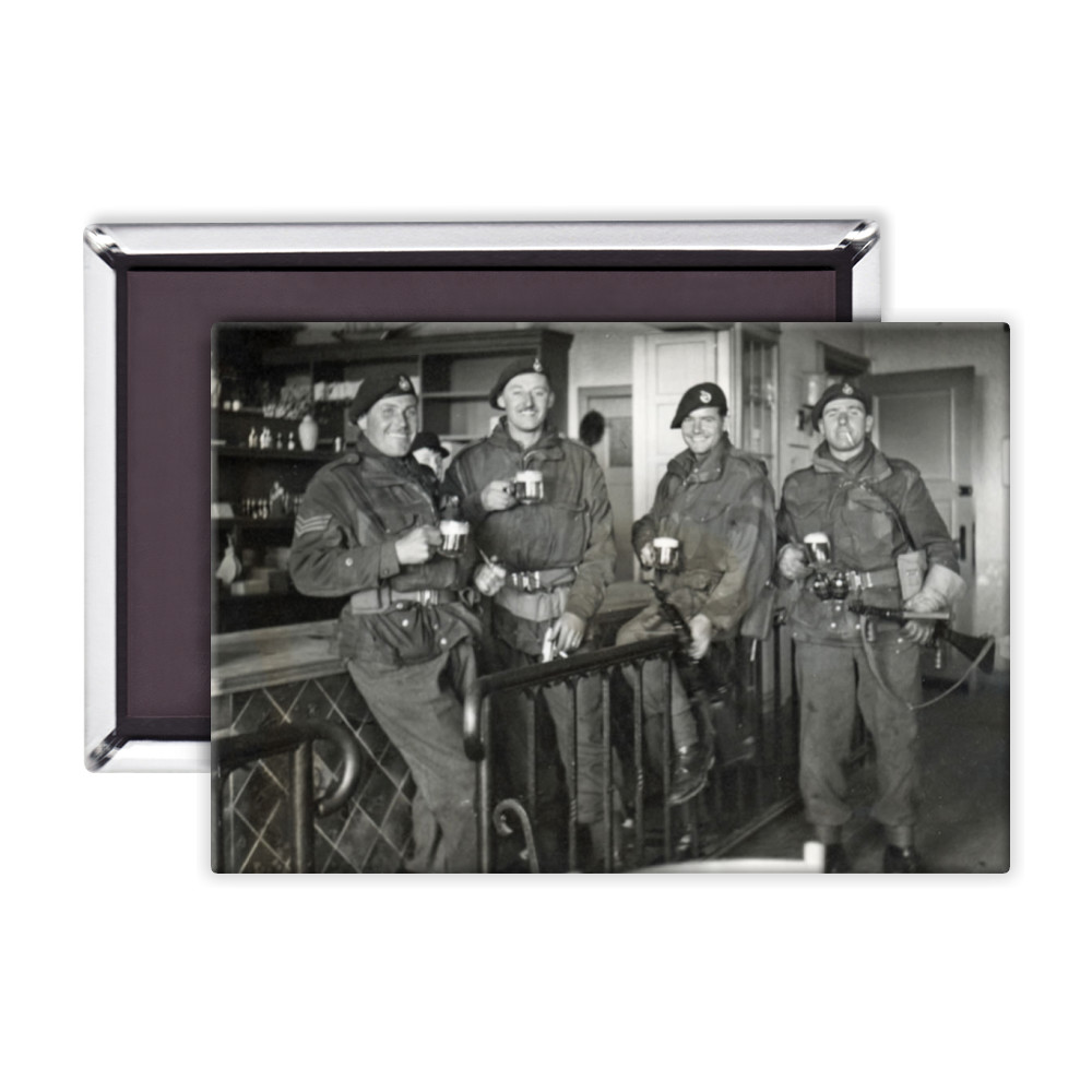 Royal Marine Commandos drinking beer at Buxtehude, Lower Saxony, Germany,.. Magnet