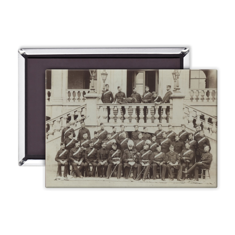 Royal Marine Artillery Officers seated in front of the Officers' Mess at.. Magnet