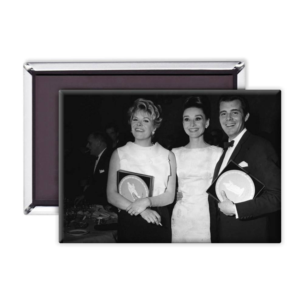 'Rachel Roberts, Audrey Hepburn and Dirk Bogarde' Magnet