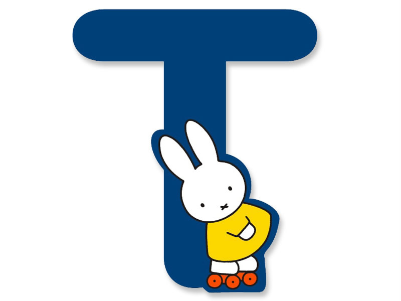 T (Blue) - A to Z Miffy wooden letter
