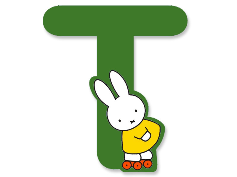 T Green A To Z Miffy Wooden Letter